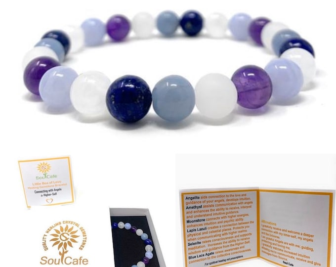 Connecting With Angels Bracelet - Stretch Healing Gemstone Bracelet - Soul Cafe Gift Box & Tag