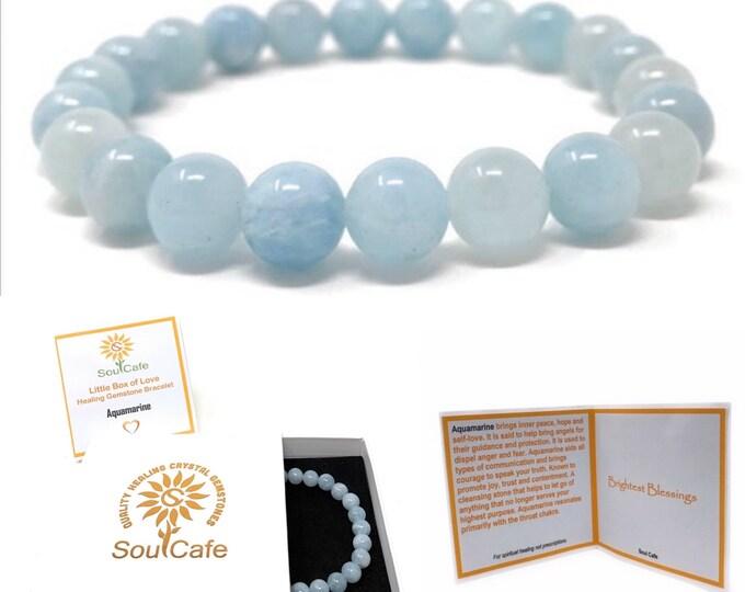 Aquamarine Power Bead Crystal Bracelet - Healing Crystal Gemstone Bracelet - Soul Cafe Gift Box & Tag