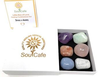 Stress & Anxiety Tumblestone Set - Healing Crystal Gemstones – Aquamarine, Amethyst, Sunstone, Moonstone, Rose Quartz, Angelite, Box and Tag