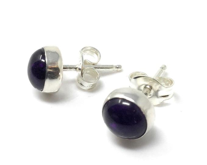 Amethyst Studs Earrings -  6mm Sterling Silver Stud Earrings - Healing Gemstone Gift -Crystal Earrings