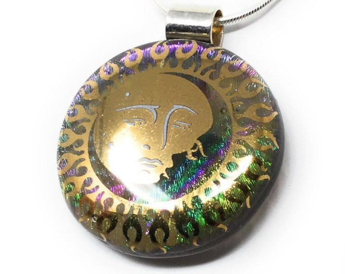 Sun and Moon pendant- handmade - kiln fired dichroic glass - fused glass - unique necklace - celestial jewellery - gift box