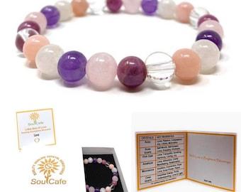 Love Crystal Power Bead Bracelet - Stretch Healing Crystal Gemstone Bracelet - Soul Cafe Gift Box & Tag