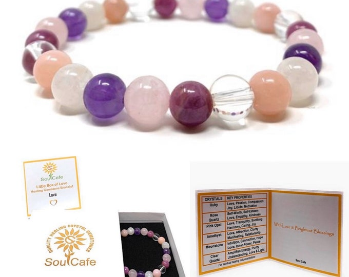 Love Crystal Power Bead Bracelet - Stretch Healing Crystal Gemstone Bracelet - Soul Cafe Gift Box & Tag