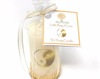 Yin Yang Candle Gift - Rustic Ivory Pillar Candle -  Choice of sizes -  Soul Cafe gift tag - Meditation -  Spiritual - New Age