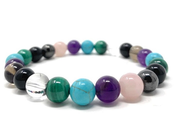 Cleanse & Clear Negative Energies Crystal Bracelet with Malachite -  Power Bead Bracelet - Crystal healing Gemstone Bracelet - Size choices