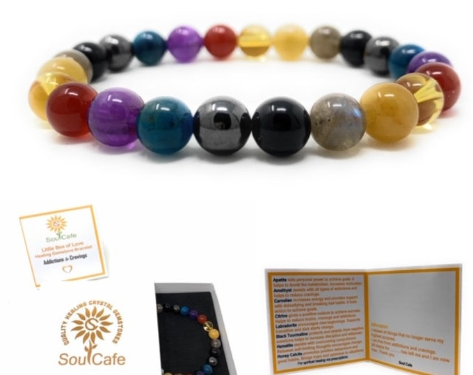 Addiction and Cravings Power Bead Bracelet - Healing Crystal Gemstones - Soul Cafe Gift Box and Tag