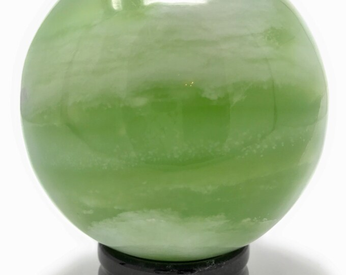 "Huge New Jade Healing Crystal Sphere XL 95mm (3.7""inches) Gift Box & Crystal Information Tag. Abundance, Luck, Love"