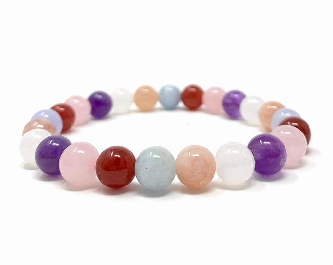 Fertility, Pregnancy & Childbirth Bracelet - Power Bead Bracelet - Healing Crystal Gemstones - Gift Box and Tag - Size choices