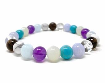 Calm Emotions Power Bead Bracelet - Crystal Gemstone Bracelet - Power Bracelet - Aquamarine Bracelet - Stress Relief Bracelet