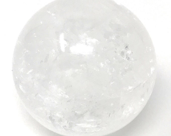 "Ice White Calcite Sphere 50 mm (2""inch) Healing Crystal - Purifying, Cleansing. Gift Packed. Crystal Information Tag"