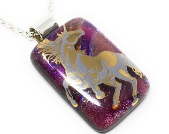 Unicorn pendant- handmade - kiln fired dichroic glass - fused glass - unique necklace - jewellery - gift box