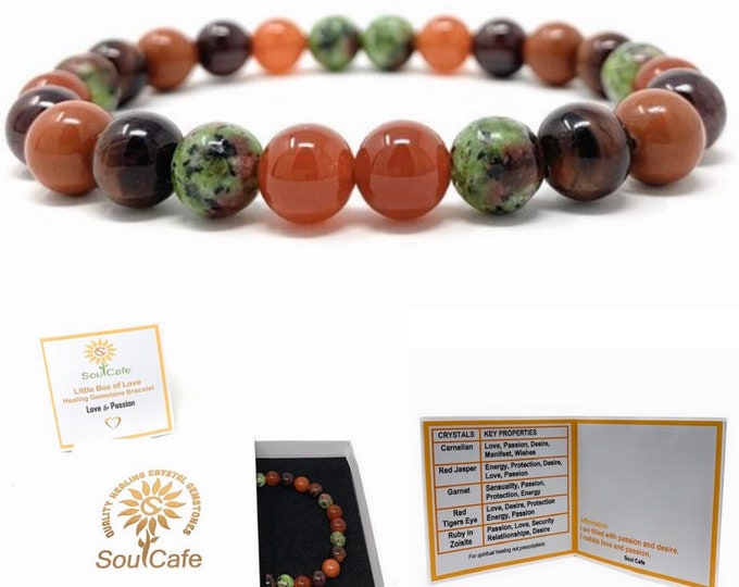 Love & Passion Power Bead Bracelet - Healing Crystal Gemstone Bracelet - Soul Cafe Gift Box and Information Tag