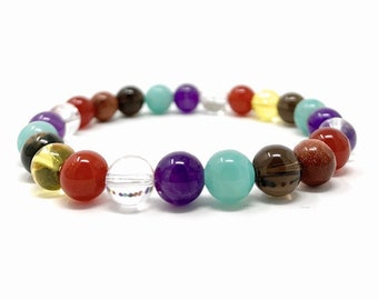 Law of Attraction Bracelet - Abundance Crystals - Power Bead Bracelet - Gift Box & Information Tag- Size Choice