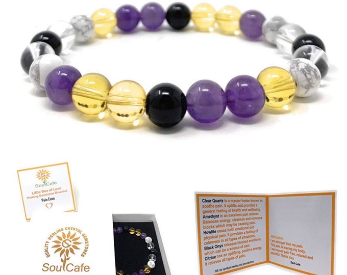 Pain Ease Power Bead Bracelet - Quality Healing Crystal Gemstone Bracelet - Soul Cafe Gift Box & Information Tag