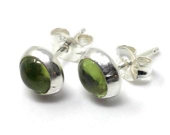 Peridot Studs Earrings - Sterling Silver Stud Earrings - Healing Gemstone Gift - 6m Crystal Earrings