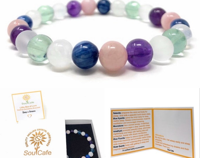 Sleep & Dream Healing Gemstone  Bracelet - Soul Cafe Gift Box and Tag - Blue Kyanite, Moonstone, Selenite, Fluorite, Amethyst, Rose Quartz
