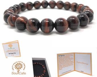 Red Tigers Eye Power Bead Crystal Bracelet - Healing Crystal Gemstone Bracelet - Soul Cafe Gift Box & Tag