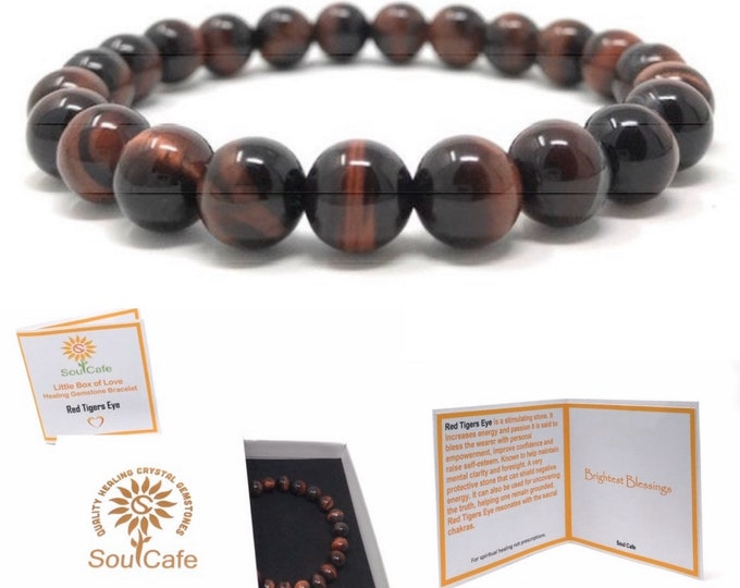 Red Tigers Eye Power Bead Crystal Bracelet - Healing Crystal Gemstone Bracelet - Soul Cafe Gift Box & Tag