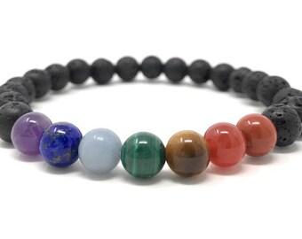Men's Chakra Power Bead Bracelet Gift - Size Choice - Gift Box & Ckakra Information Tag