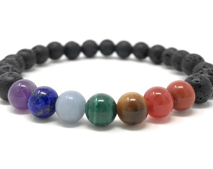 Men's Chakra Power Bead Bracelet Gift - Size Choice - Gift Box & Ckakra Information Tag