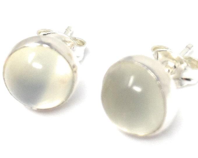Moonstone Studs Earrings - Sterling Silver Stud Earrings - Healing Gemstone Gift - 8mm Crystal Earrings
