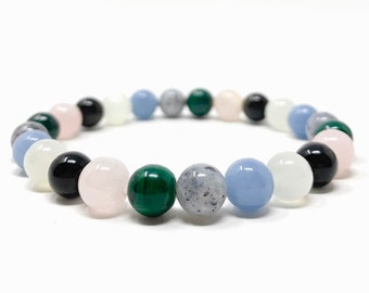 Grief & Loss Healing Gemstone Stretch Bracelet - Gift Box and Tag - Malachite, Moonstone, Angelite, Moss Agate, Obsidian, Rose Quartz