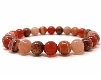 Sacral Chakra Bracelet - Power Bead Bracelet - Healing Crystal Gemstones - Size Choice - Carnelian, Sardonyx, Goldstone, Sunstone