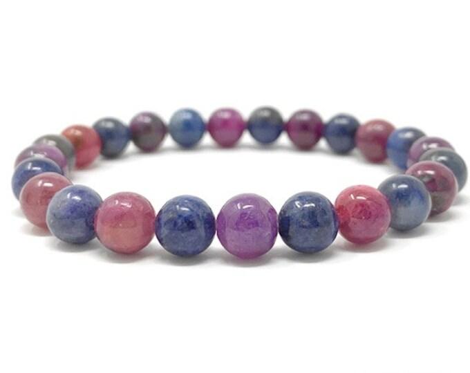 Genuine Ruby & Sapphire Crystal Gemstone Bracelet - Power Bead Bracelet - Size choices - Gift Box and Tag