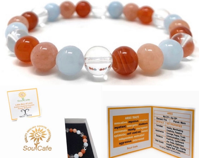 Aries Crystal Bracelet - Power Bracelet - Zodiac Birthstones - Gift Box & Aries Tag - Carnelian, Aquamarine, Sunstone, Clear Quartz