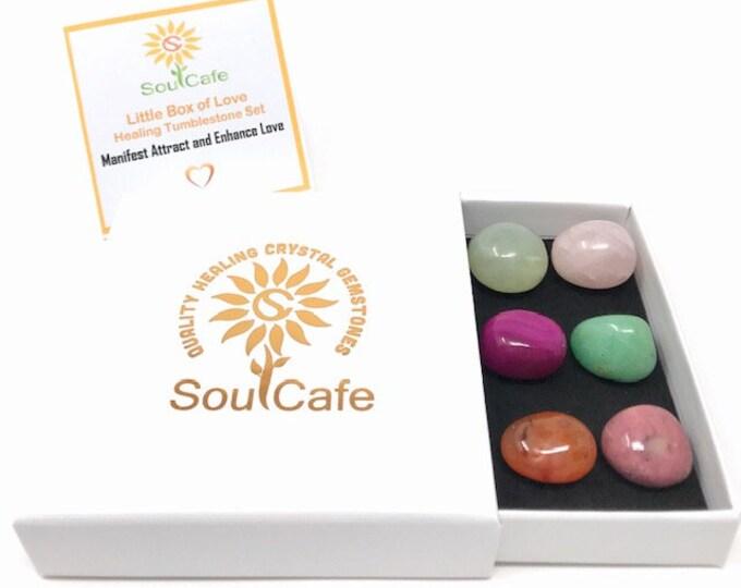 Manifesting Love Tumblestones Gift Set -  Healing Crystal Gemstones - Rose Quartz - Pink Agate - Carnelian - Rhodonite – Aventurine - Jade