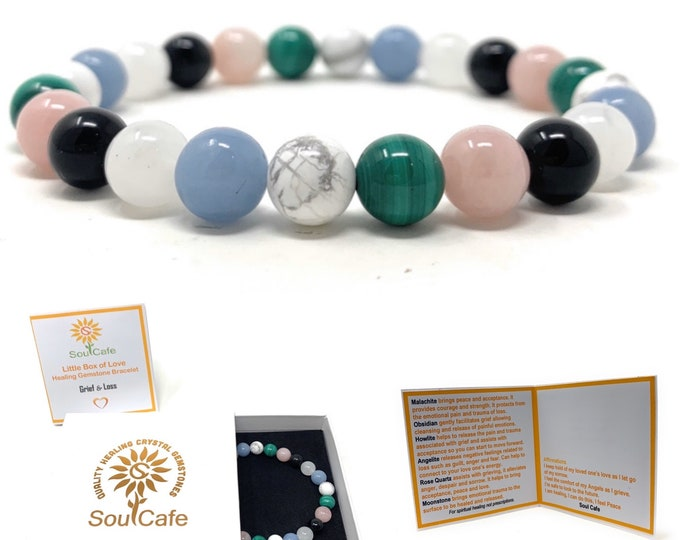 Grief & Loss Healing Gemstone Stretch Bracelet - Gift Box and Tag - Malachite, Moonstone, Angelite, Howlite, Obsidian, Rose Quartz