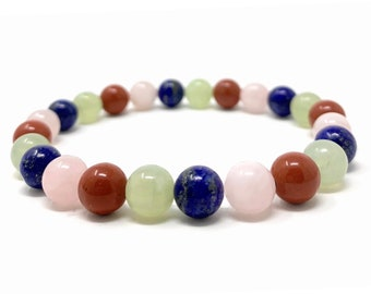 Taurus Crystal Bracelet - Power Bracelet - Zodiac Birthstones - Gift Box & Taurus Tag - Rose Quartz, Jade, Lapis Lazuli, Red Jasper