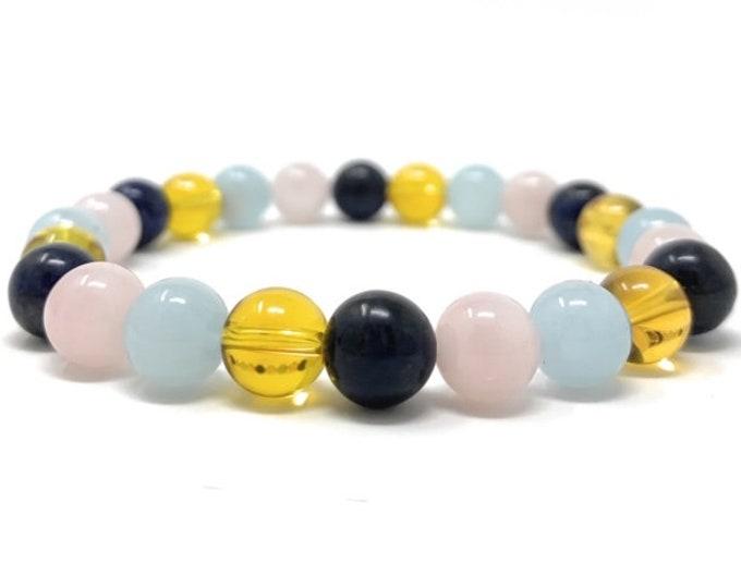 Scorpio Crystal Bracelet - Power Bracelet - Zodiac Birthstones - Gift Box & Scorpio Tag - Citrine, Sodalite, Rose Quartz, Aquamarine