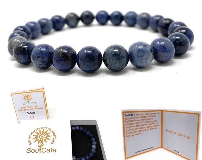 Sodalite Power Bead Crystal Bracelet - Healing Crystal Gemstone Bracelet - Soul Cafe Gift Box & Tag