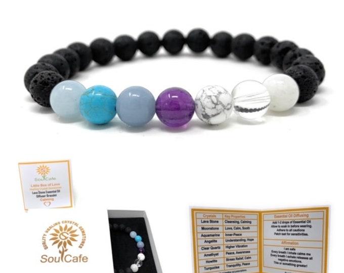 Calm Bracelet - Lava Stone Diffuser Gemstone Bracelet - Essential Oil Bracelet - Power Bracelet - Stress Relief Bracelet - Gift Box & Tag