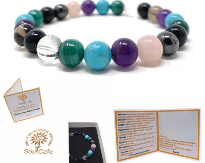 Cleanse & Clear Negative Energies Crystal Bracelet with Malachite -  Power Bead Bracelet - Crystal healing Gemstone Bracelet - Box and Tag