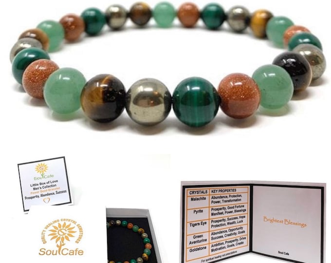 Men's Prosperity Crystal Bracelet - Stretch Power Bead Bracelet - Healing Crystal Gemstones - Soul Cafe Gift Box & Tag