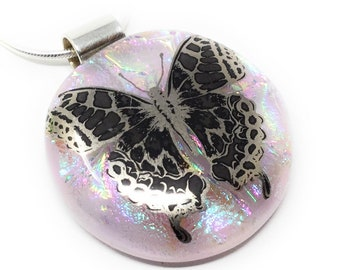 Butterfly pendant handmade - kiln fired dichroic glass - fused glass - nature - unique necklace - spiritual jewellery
