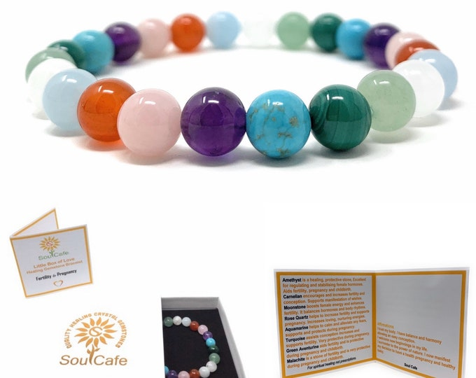 Fertility & Pregnancy Crystal Bracelet - Power Bead Bracelet - Soul Cafe Gift Box and Information Tag