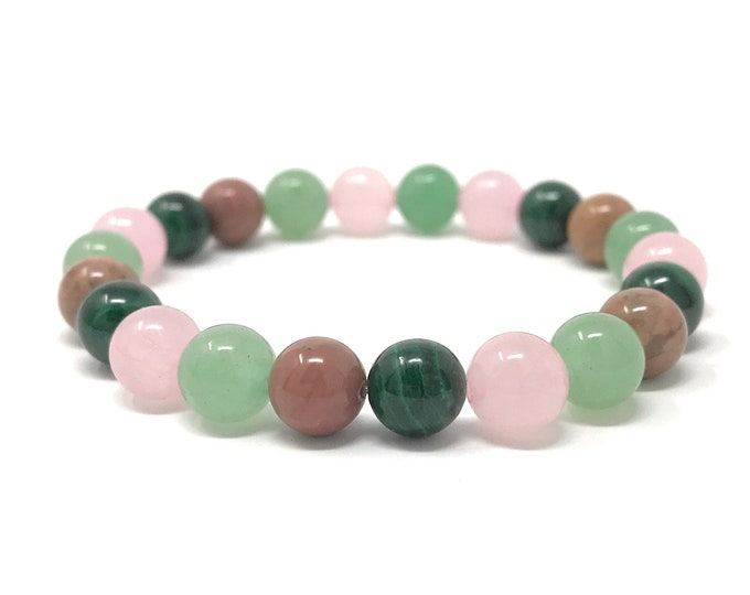Heart Chakra Bracelet - Power Bead Bracelet - Healing Crystal Gemstones - Size Choice - Green Aventurine, Rose Quartz, Malachite, Rhodonite