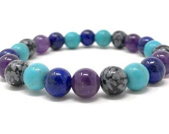 Sagittarius Crystal Bracelet - Power Bracelet - Zodiac Birthstones - Gift Box & Tag - Lapis Lazuli, Turquoise, Snowflake Obsidian, Amethyst