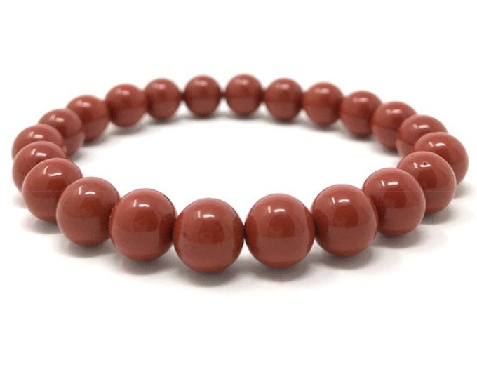 Red Jasper Power Bead Crystal Bracelet - Genuine Healing Crystal Gemstone Bracelet - Gift Box & Tag - Size choices