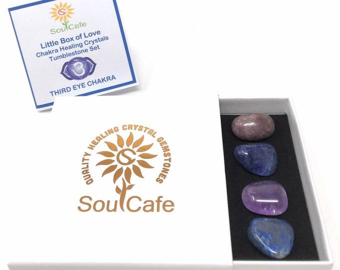 Third Eye Chakra Balancing Set -  Healing Crystal Gemstones - Tublestone Set - Amethyst, Lapis Lazuli, Iepidolite, Sodalite