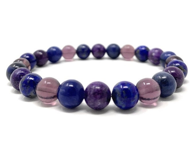 Third Eye Chakra Bracelet - Power Bracelet - Healing Crystal Gemstones - Size Choice - Lapis Lazuli, Lilac Lepidolite , Fluorite, Sodalite