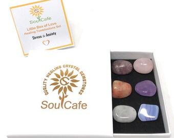 Stress & Anxiety Tumblestone Gift Set - Healing Crystal Gemstones – Lepidolite, Amethyst, Sunstone, Moonstone, Blue Lace Agate, Rose Quartz