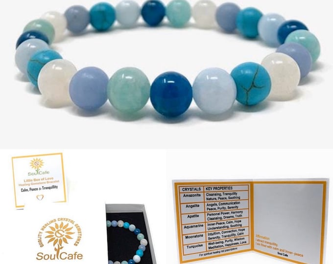 Tranquillity Crystal Power Bead Bracelet - Stretch Healing Crystal Gemstone Bracelet - SoulCafe Box & Tag - Calm, Inner-Peace