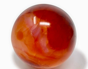 """Carnelian Healing Crystal Sphere 62mm (2.4""""inches) Gift Box & Crystal Information Tag. Passion, Creativity, Motivation, Strength"""