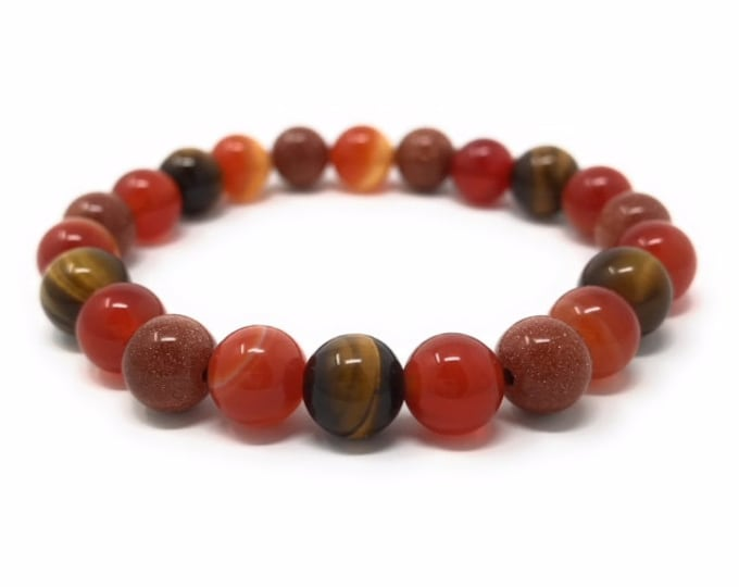 Sacral Chakra Bracelet - Power Bead Bracelet - Healing Crystal Gemstones - Size Choice - Carnelian, Sardonyx, Goldstone, Tigers Eye