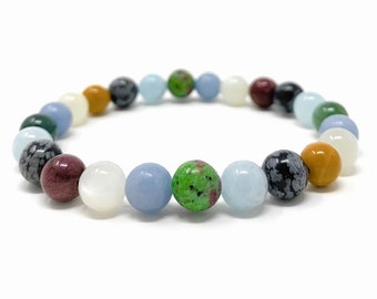 Grief Power Bead Bracelet  - Crystals for Loss - Grief Bracelet - Quality Healing Crystal Gemstone Bracelet - Gift Box & Tag -  Size choices