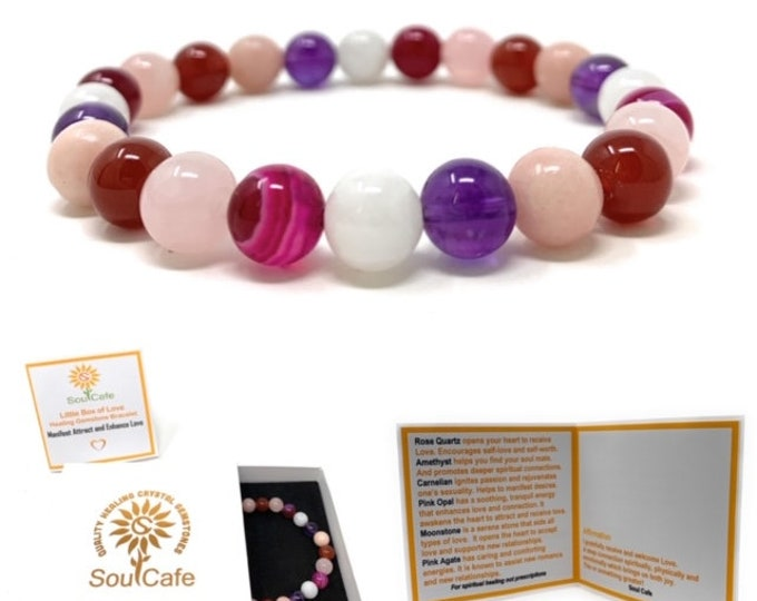 Love Manifesting Crystal Gemstone Bracelet - Healing Power Bead Bracelet -  Gift Box & Tag